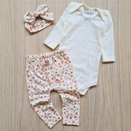 Conjunto Floral Caqui, Body Manga Longa Off White, Calça Legging e Faixa de Cabelo