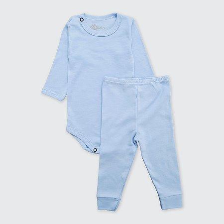 Pijama Azul Bebê Liso