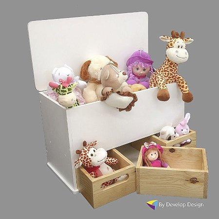 Baú Infantil, em madeira, com gavetas em várias cores