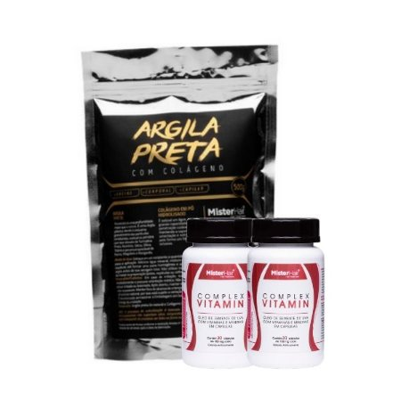 Kit Argila preta + 2 Suplementos Capilar - Mister Hair