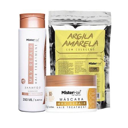 kit Max Repair (Shampoo e Máscara) com Argila Amarela - Mister Hair
