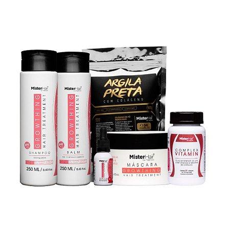 Kit Super Crescimento e Fortalecimento (Shampoo + Balm + Tonico + Suplemento + Máscara + Argila Preta)