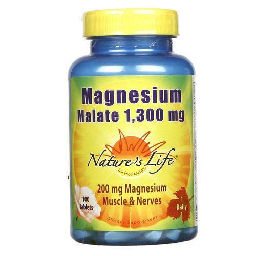 Magnésio Dimalato Importado Nature's Life 100 tablets 1300mg