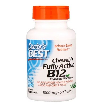 Vitamina B-12 Doctors Best 1000mcg 60 Tablets Mastigáveis Sabor Chocolate Menta