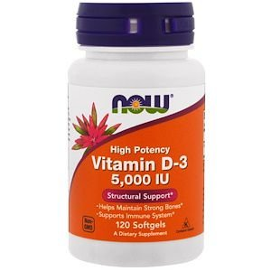 Vitamina D3 NOW FOODS 5,000UI 120 Softgels