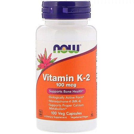 Vitamina K2 MK-4 100mcg Now Foods 100 Cápsulas Veganas