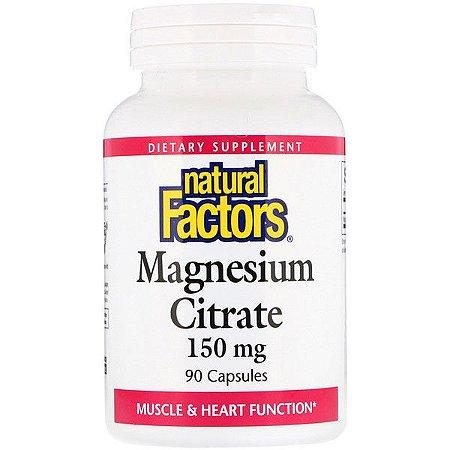 Magnésio Citrato - Natural Factors - 150mg 90 Cápsulas