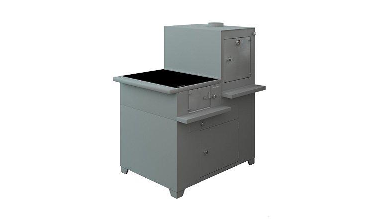 Fogão Compacto / Chapa Vitrocerâmica / Inox Escovado / Saída Direita
