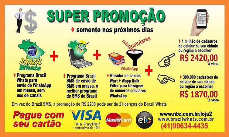 Super Promoção 300 mil Contatos de Celulares + SMS + WhatsApp
