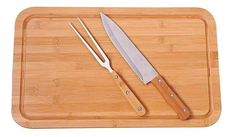 Kit Para Churrasco Bamboo Mor C/ Tábua De Corte 3 Peças