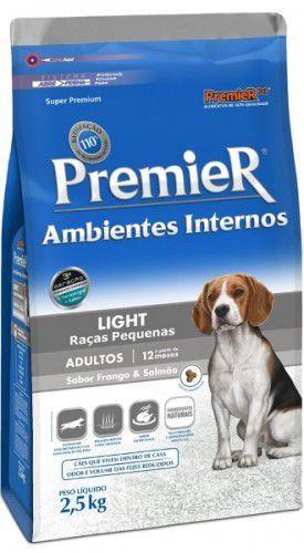Ração Premier Ambientes Internos Light Cão Adulto Raça Pequenas Frangos  e Salmão 2,5kg