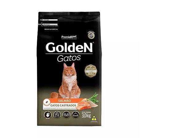 Ração Golden Gatos Castrados Sabor Salmão 3kg