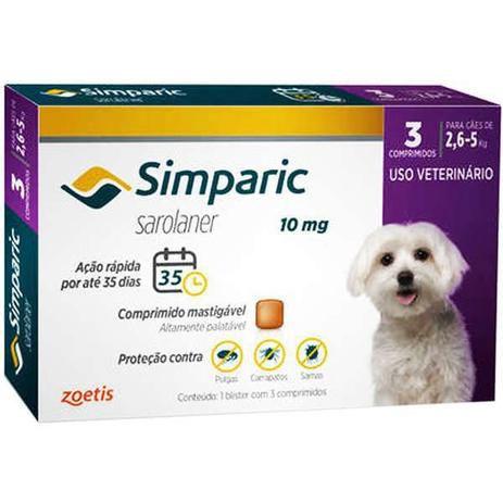 Antipulgas e Carrapatos Simparic 10mg - 2,6 a 5 Kg 3 Comprimidos