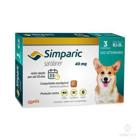 Antipulgas e Carrapatos Simparic 40mg - 10,1 A 20 Kg 3 Comprimidos