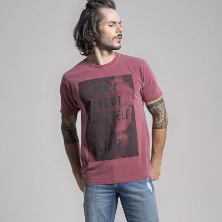 CAMISETA STONE DON´T SHOOT YOURSELF TO DEATH - VINHO