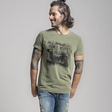 CAMISETA STONE DON´T WORRY ABOUT TOMORROW - MILITAR