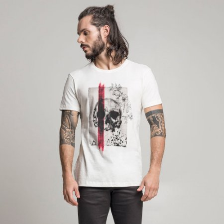 CAMISETA STONE SKULL BRUSH OFF-WHITE