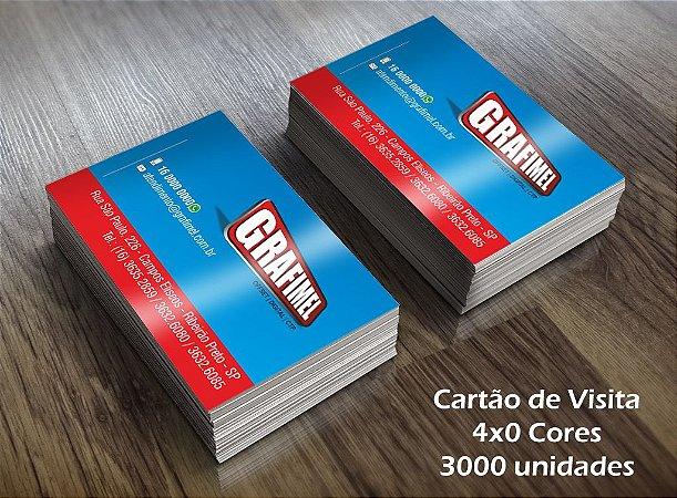 3000 Cartões de Visita - Tamanho 9x5cm - Papel Couche 250g - 4x0 cores - Verniz Total UV