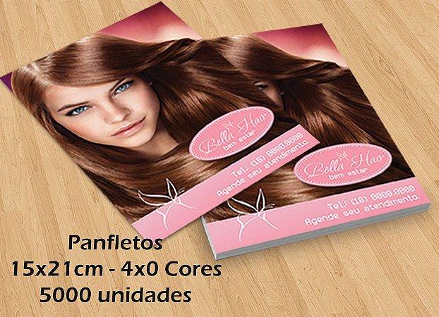 5000 Panfletos - Tamanho 15x21cm - Papel Couche 90g - 4x0 cores
