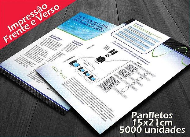 5000 Panfletos - Tamanho 15x21cm - Papel Couche 115g - 4x4 cores