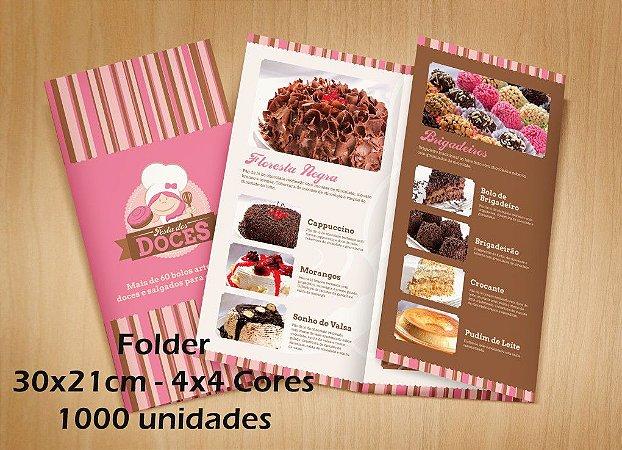 1000 Folders - Tamanho 30x21cm - Papel Couche 150g - 4x4 cores - 2 dobras