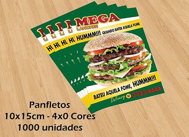 1.000 Panfletos - Tamanho 10x15cm - Papel Couche 115g - 4x0 cores