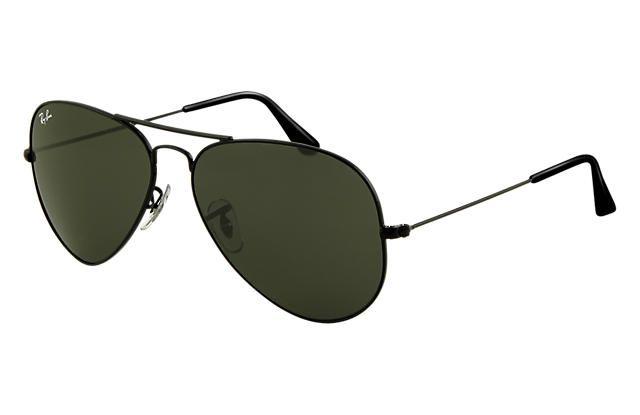 RAY-BAN AVIATOR CLÁSSICO PRETO - LENTES VERDE CLÁSSICA G-15 - Óculos ... 80159011b4