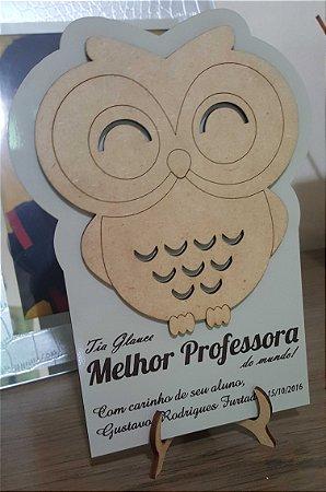 Placa de Homenagem Dia do Professor - em MDF 6mm com sobreposição e gravação a laser