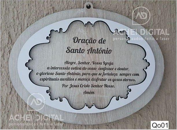 Quadro Oração Santo Antônio - MDF Texturizado com MDF Laca sobreposto e Mensagem Gravada a Laser