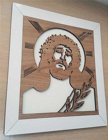 Quadro Face de Jesus -  MDF Texturizado com MDF laca sobreposto.