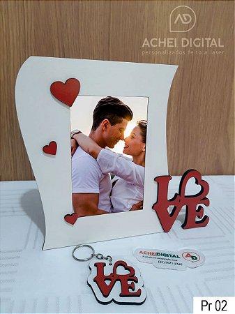 Kit dia dos Namorados - 1Porta Retrato + 1 Chaveiro Love