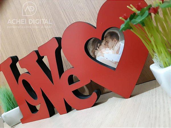 LOVE Decorativo com porta retrato (foto 8x8cm), medida da peça 40x18cm