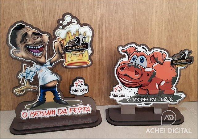 Troféu Porco da Festa ou Bebum da Festa em MDF , acrilico e adesivo com 30cm de largura .