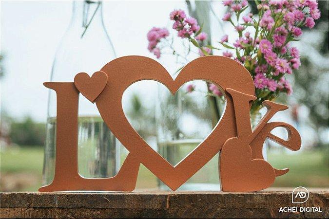 Love 3D em MDF 18mm pintado, medida de 40 x 20cm