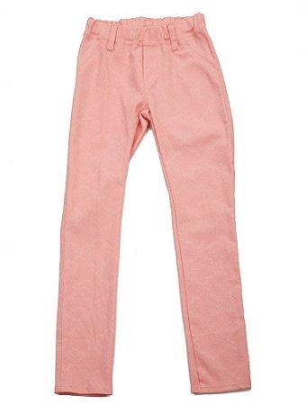 Calça Rosa Estampada Stretch Elástico Cintura Infantil Outlet