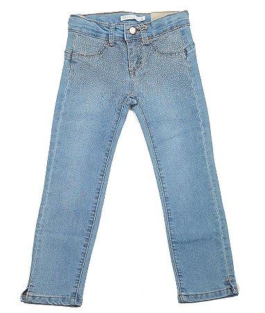 Calça Jeans Azul Com Strass e Cintura Ajustável Infantil Outlet
