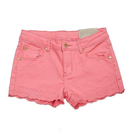 Shorts Rosa Bordado Barra com Cintura Ajustável Infantil Outlet