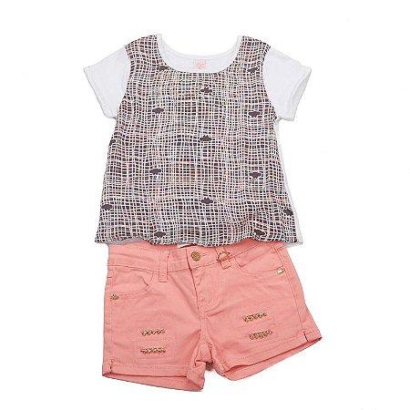 Conjunto Camiseta Manga Curta Sedinha Colorida Estampa Strass e Shorts Rosa Strass Cintura Ajustável Infantil Outlet