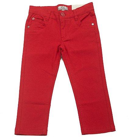Calça Sarja Vermelha Stretch e Cintura Ajustável Infantil Outlet