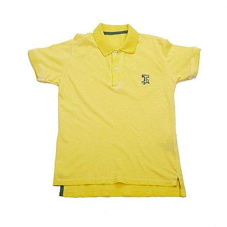 Camiseta Gola Polo Manga Curta Amarela Infantil Outlet