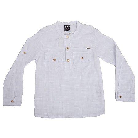 Camisa Manga Longa Dobrável Branca Bolsinhos Infantil Outlet