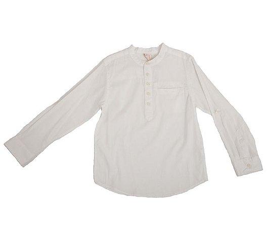 Camisa Manga Longa Fechada Bolso Branca Infantil Outlet