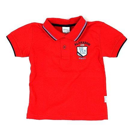 Camiseta Gola Polo Manga Curta Vermelha Infantil Outlet