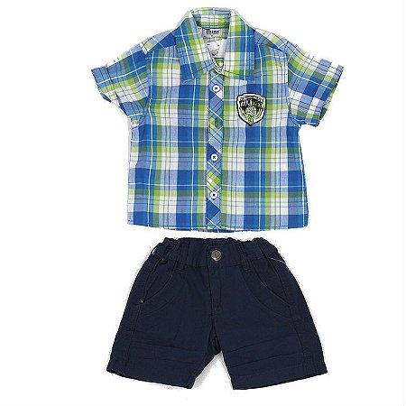 Conjunto Camisa Xadrez Azul, Verde e Branca e Bermuda Sarja Azul Marinho Cintura Ajustável Infantil Outlet
