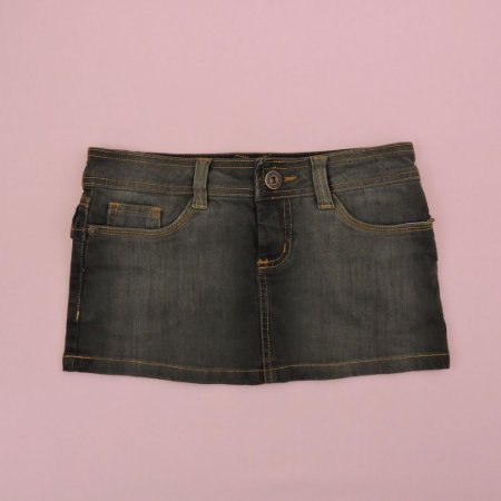 Saia Jeans Preta Costura Caramelo Infantil