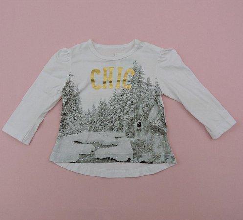 Blusinha Branca Esquilo Floresta de Neve Infantil Teddy Boom