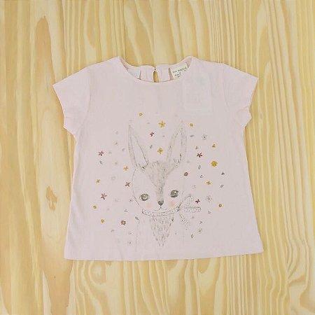 Camiseta  Rosa Coelha Infantil Zara BabyGirl