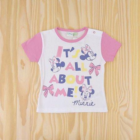 Camiseta Branca Minnie Infantil Disney
