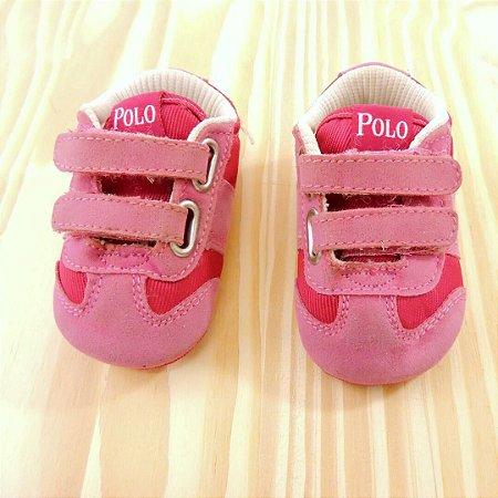 7821faa3ef173 Tênis Rosa Velcro Infantil Polo Ralph Lauren BYEBACK