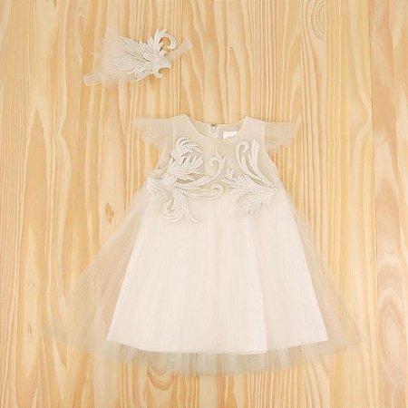 Vestido Branco Bordado Tule Infantil MISCHKA AOKI